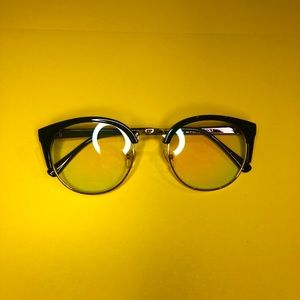 Retro Style Round Clear Glasses with Gold Frame